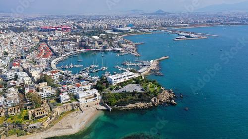 Foto op Aluminium Kust Aerial photo of iconic port of Marina Zeas with boats docked, port of Piraeus , Attica, Greece