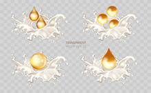 LGolden Hair Oil Ads, Beautiful Essential Oil Splashing In 3D Illustration. Vector Cream, Yogurt Lotion, Cosmetic Milk For Face And Hands. Promotion Of Premium Product Ads. Milk Waves, Drops And Blots