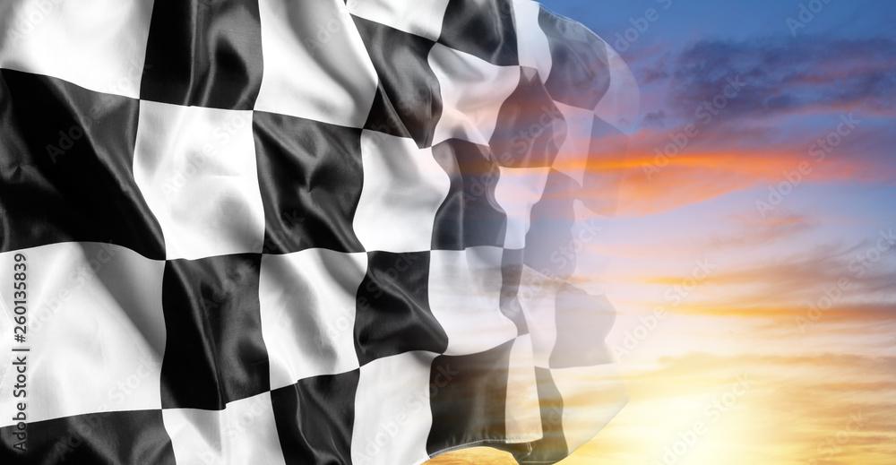 Fototapety, obrazy: Checkered flag and sky