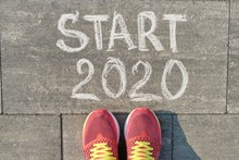 Start 2020, Text On Gray Sidew...