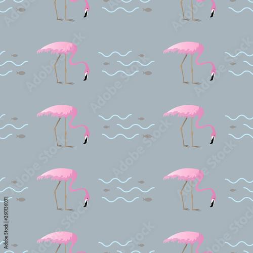 Canvas Prints Flamingo Bird tropical fish and flamingo. Vector Seamless pattern
