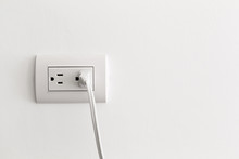 American Electrical Socket On White Wall