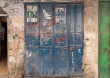Blue Wooden Door In The Old Ci...