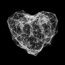 White Polygonal Heart. Valentine's Day Or Medicine Concept. Vector Mesh Illustration.