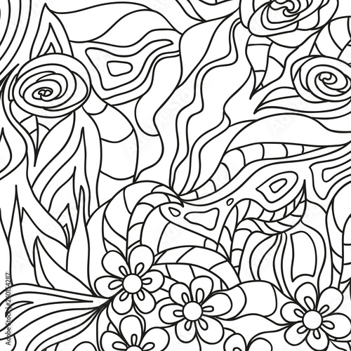 Foto op Canvas Klassieke abstractie Square intricate pattern. Hand drawn mandala on isolated background. Design for spiritual relaxation for adults. Doodle for work. Black and white illustration for coloring