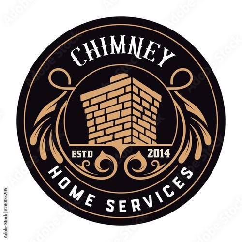 Fotografia, Obraz Vintage Chimney logo. Vector layered