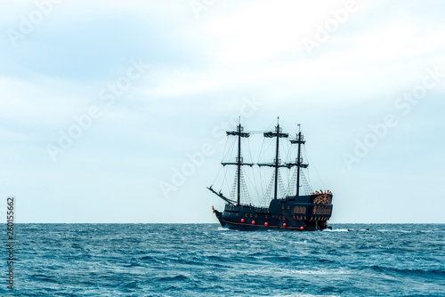 Canvas Prints Ship one big beautiful ship on the blue sea. Horizontal frame