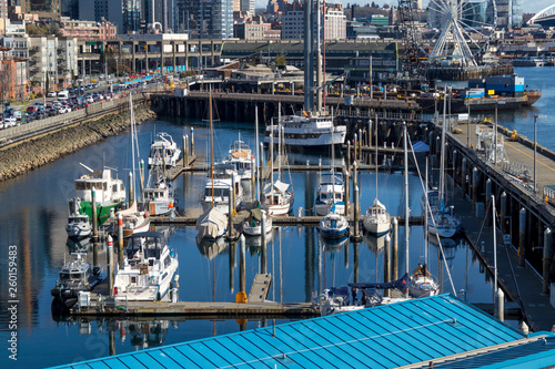 Boats and Marina in Seattle, Washington. фототапет