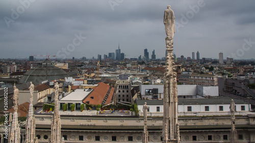 Poster Artistique view from dome roof over milan brera