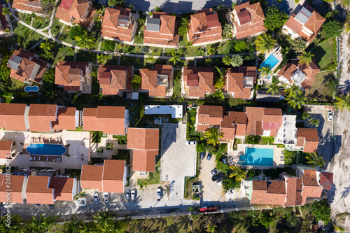 Foto Aerial view with caribbean city