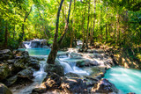 Erawan Waterfall in National Park, Thailand,Blue emerald color waterfall