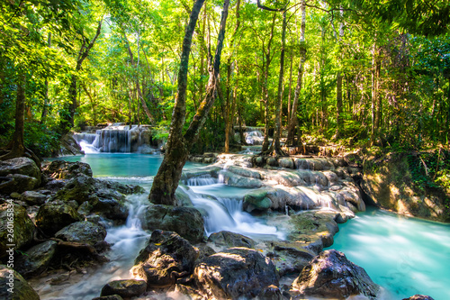 mata magnetyczna Erawan Waterfall in National Park, Thailand,Blue emerald color waterfall