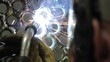 Welding sparks blue light