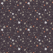 Vector Illustration Of Stylized Abstract Florals In Shades Of Orange, Coral, Grey, Peach, White And Taupe. This Stylish Seamless Repeat Pattern Is Perfect For Gift, Cards, Wallpaper, Scrapbooking,