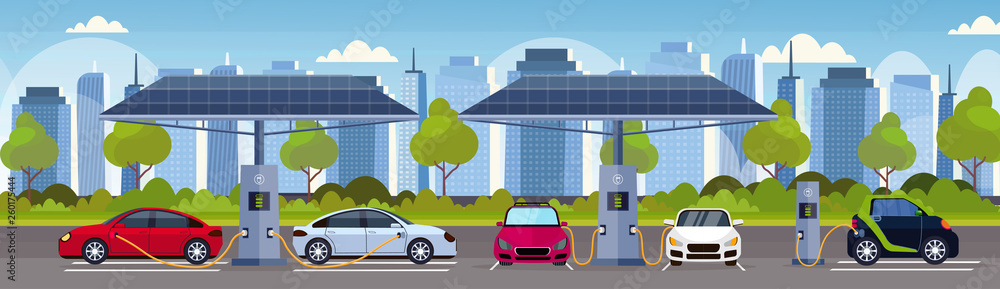 Fototapeta electric cars charging on electrical charge station with solar panels renewable eco friendly transport environment care concept flat modern cityscape background horizontal