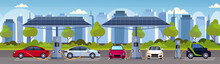 Electric Cars Charging On Electrical Charge Station With Solar Panels Renewable Eco Friendly Transport Environment Care Concept Flat Modern Cityscape Background Horizontal