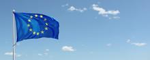 EU Flag Waving Against Blue Sk...