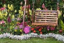 Wooden Swing Seat In Backyard ...