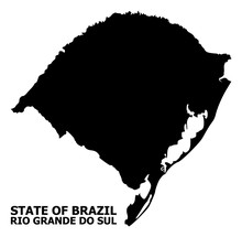 Vector Flat Map Of Rio Grande Do Sul State With Caption
