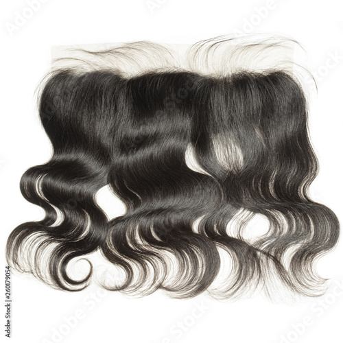 Photo body wavy black  human hair weaves extensions lace frontal closure