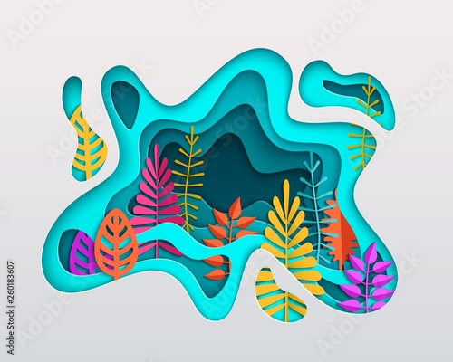 Spring summer autumn composition with colorful leaves inscribed in paper cut layered spot Fototapete