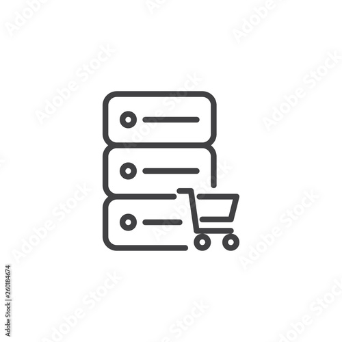 E-commerce hosting line icon  Data server and shopping cart