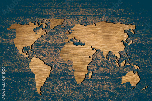 Foto op Aluminium Roughly sketched out world map with wooden filling