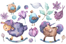 Set Of Hand Painted Watercolor Illustrations Cartoon Style With Cute Sheep, Horse, Birds, Flowers, Leaves And Brunches In Purple, Violet, Aqua And Yellow Colors