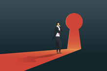 Businessman Standing Thinking Near Keyhole Door  In The Wall Of The Hole At Light Falls. Illustration Vector