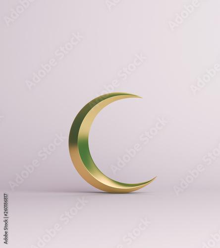 Cuadros en Lienzo Gold crescent moon on white background studio lighting