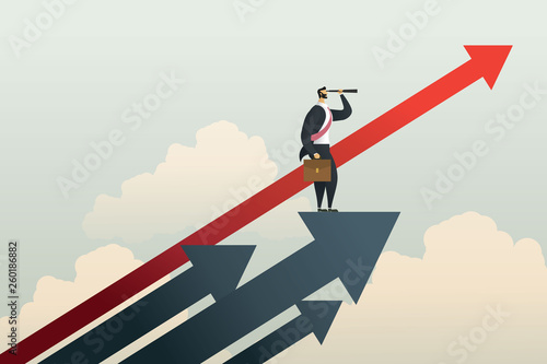 Foto Businessman standing searching for opportunities goal on arrow
