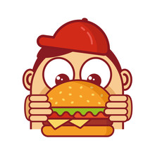 Happy Cute Boy Hugging Big Hamburger Isolated. Burger Lover Concept. Burger Icon. Tasty Juicy Burger Illustration