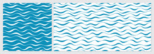 Wave Pattern Seamless Abstract Background. Stripes Wave Pattern With Blue And White Colors. Summer Vector Design. Template Set With 2 Sizes.