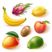 Realistic Tropical Fruit Set. Delicious Mango, Ripe Peach, Green Avocado, Banana, Lemon, Kiwi And Dragonfruit Pitahaya. Vector Summer Holiday Exotic Fruits