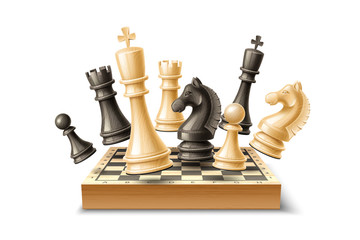 Realistic chess pieces and chessboard set. King, queen bishop and pawn horse rook Black and white chess figures for strategic board game. Intellectual leisure activity. 3d objects for vector design