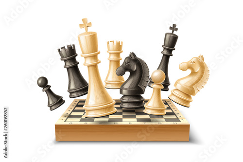 Realistic chess pieces and chessboard set Fototapete