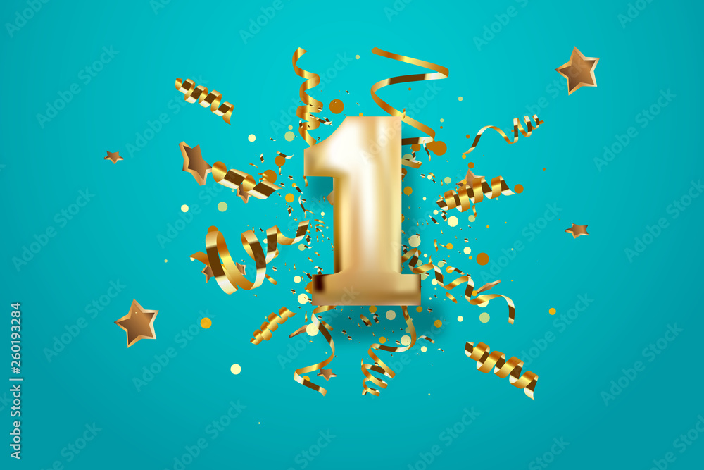 Fototapeta First Anniversary celebration. Golden number 1 with sparkling confetti, stars, glitters and streamer ribbons. Vector festive illustration.