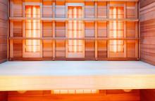 Interior Of Empty Classic Wooden Sauna, Infrared Panels