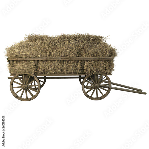 Cart with hay and straw Fototapeta