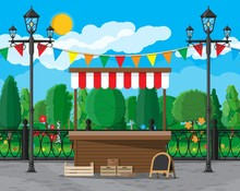 Traditional Market Empty Wooden Food Stall With Flags, Crates Chalk Board. City Park, Street Lamp And Trees. Sky With Clouds And Sun. Leisure Time In Summer City Park. Vector Illustration Flat Style