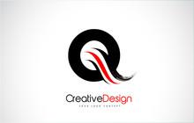Red And Black Q Letter Design Brush Paint Stroke.