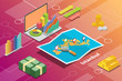 istanbul turkey city isometric financial economy condition concept for describe cities growth expand - vector