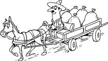 Horse Pulls Cart With Sacks