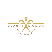 Beauty Haircut Salon Logo With...