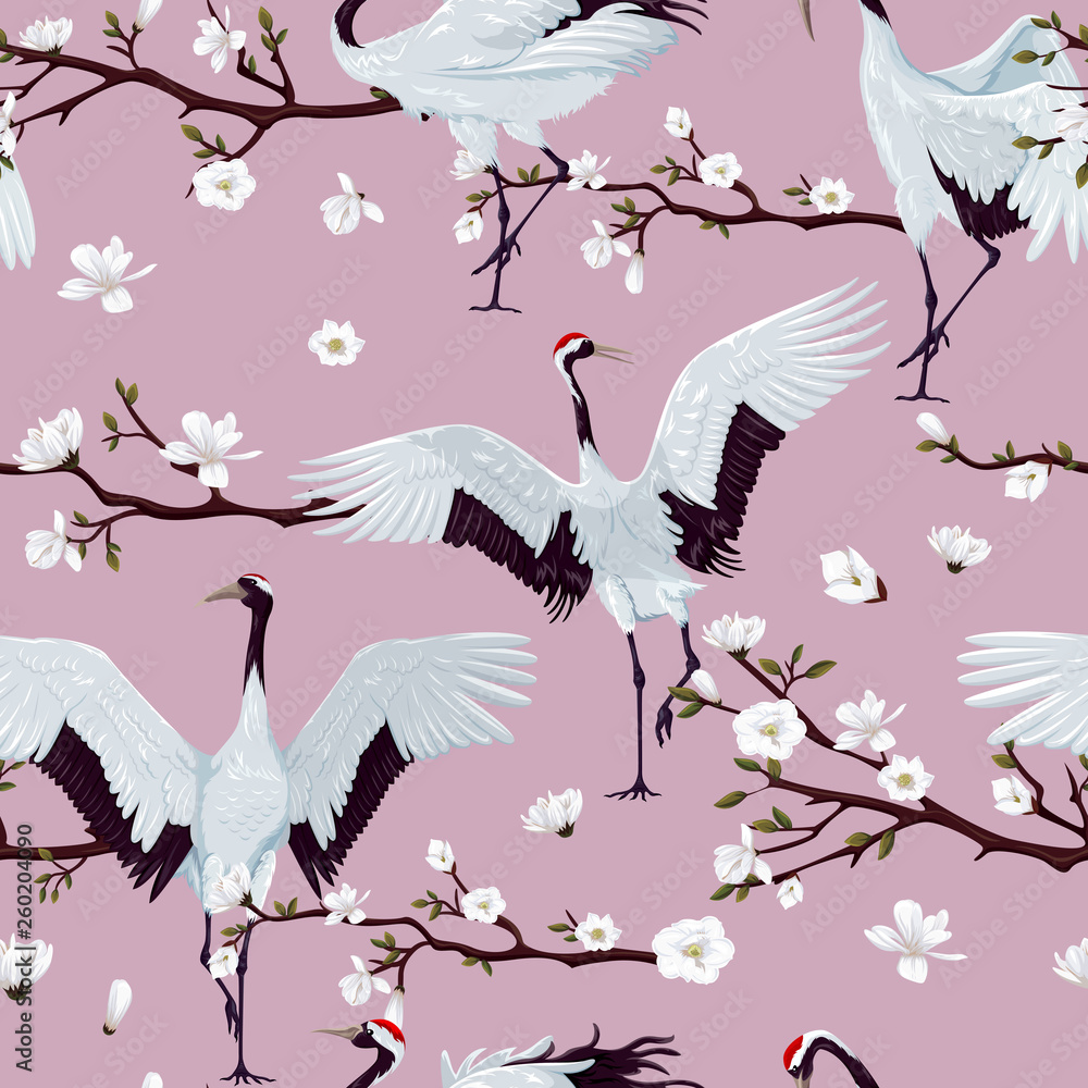 seamless pattern with japanese cranes and blooming magnolia