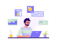 Office Worker. Man Is Working At His Laptop And The Infographics On The Background. Blue, Green, Yellow. Isolated Flat Vector Illustration.