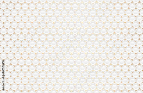 Abstract embossing volume white texture, vector seamless pattern. Depressed round shape background, 3d geometric pattern. Round dot with golden ring backdrop. Futuristic wallpaper. Like a plates.