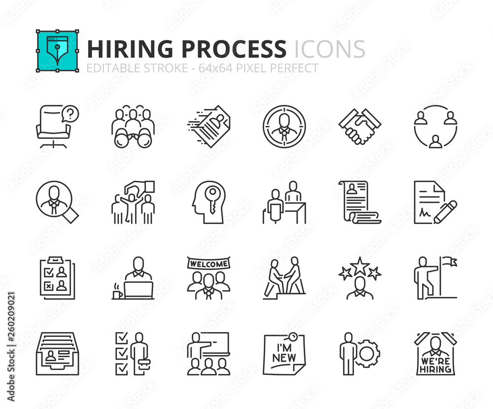 Fototapety, obrazy: Outline icons about hiring process