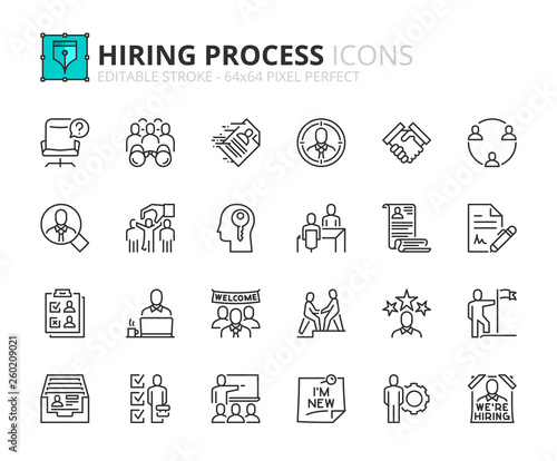 Outline icons about hiring process Canvas Print
