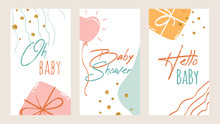 Baby Shower Invitation Template With Hand Drawn Elements, Lettering, Cute Gifts, Balloon, Gold Glitter Dots. Vector Cards